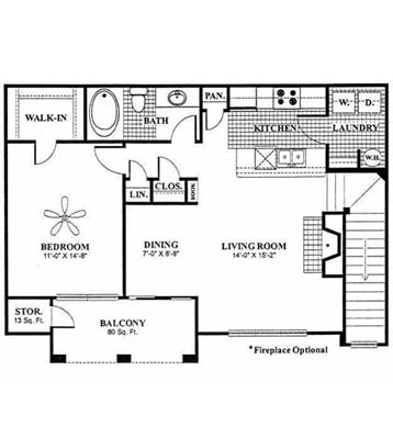 847 sq. ft. Whitworth - A3 floor plan