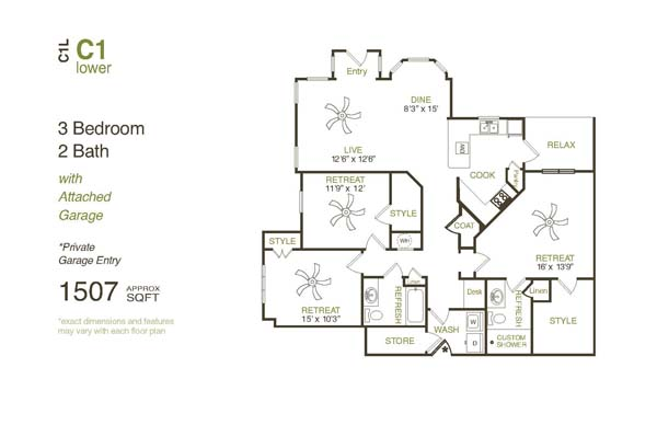 1,507 sq. ft. C1LG floor plan