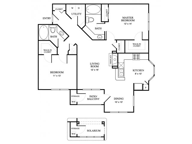 1,197 sq. ft. Villa floor plan