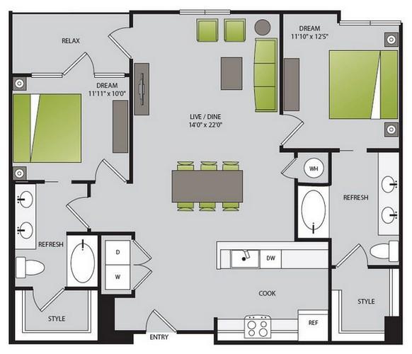 1,091 sq. ft. B1.1 floor plan