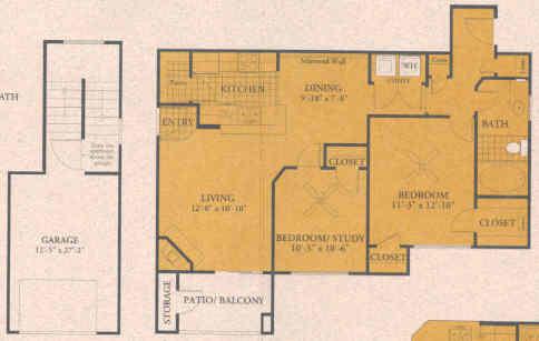 925 sq. ft. B1 floor plan