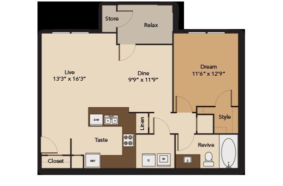 844 sq. ft. GARDEN A2 floor plan