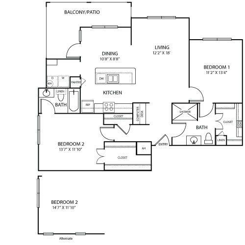 1,194 sq. ft. to 1,207 sq. ft. PROVENCE floor plan