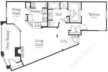 1,052 sq. ft. A4-A floor plan