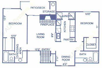 1,004 sq. ft. OAK floor plan