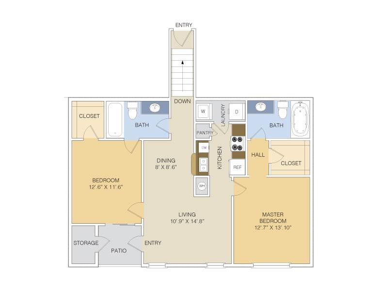 1,107 sq. ft. B3 UPPER floor plan