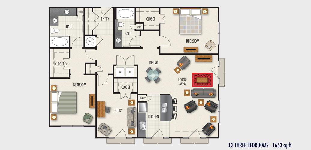 1,653 sq. ft. C3 floor plan
