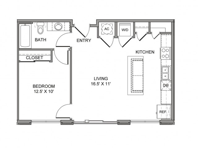 675 sq. ft. Ervay floor plan