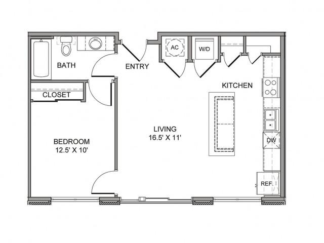 675 sq. ft. Ervay floor plan