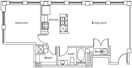 800 sq. ft. A3 States floor plan