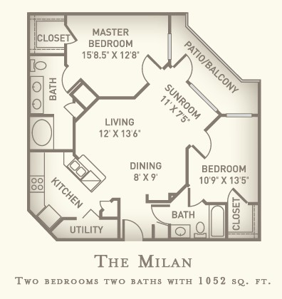 1,052 sq. ft. Padua floor plan