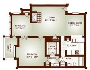 836 sq. ft. 11D-COTT floor plan