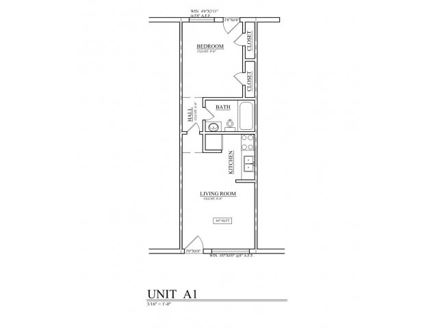 635 sq. ft. B1 floor plan
