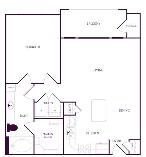 756 sq. ft. B-A2 floor plan