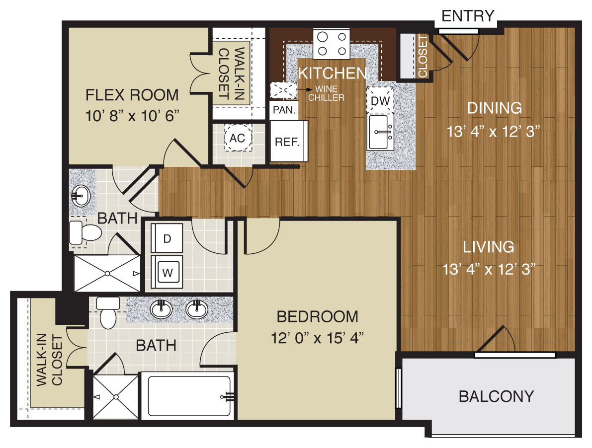 713 sq. ft. A2.4 floor plan