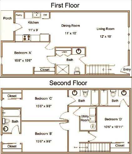 1,500 sq. ft. floor plan