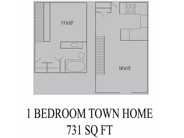 731 sq. ft. floor plan