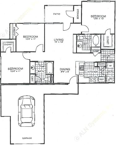 1,193 sq. ft. C1 floor plan
