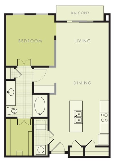755 sq. ft. A1 floor plan