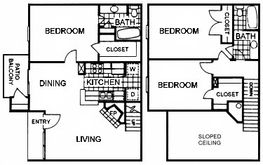 1,200 sq. ft. 3TH floor plan