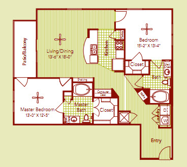 1,244 sq. ft. BIARRITZ floor plan