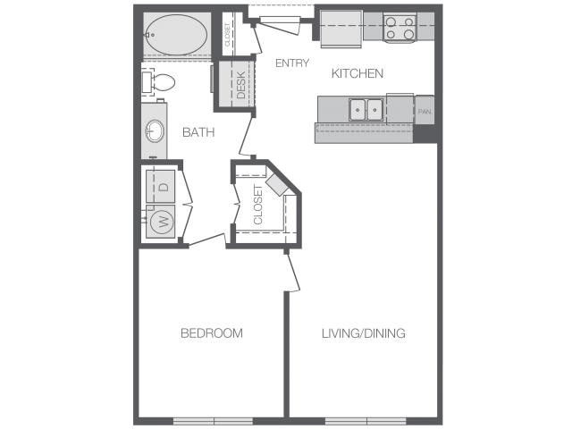 700 sq. ft. to 890 sq. ft. A2 floor plan