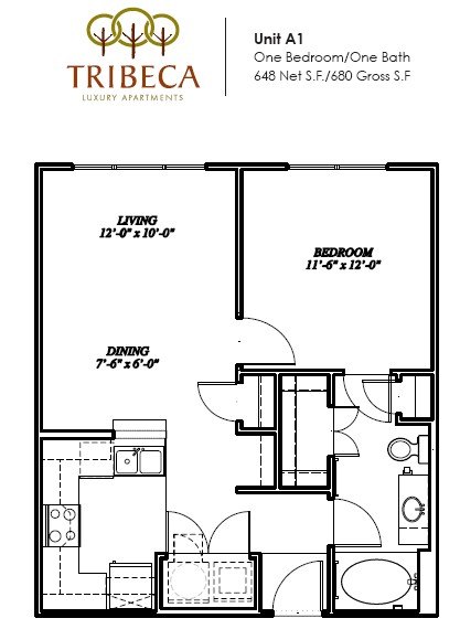 648 sq. ft. Hudson floor plan