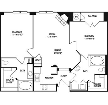 1,019 sq. ft. to 1,043 sq. ft. floor plan