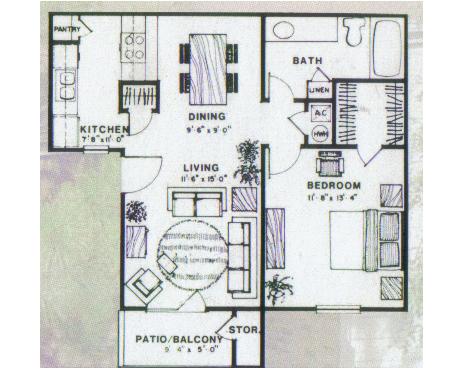 670 sq. ft. Spruce floor plan