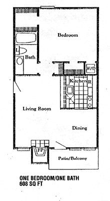608 sq. ft. A3 floor plan