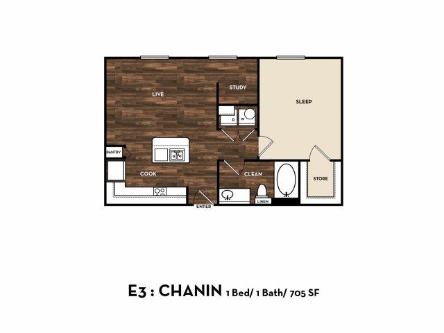 705 sq. ft. E3: Chanin floor plan