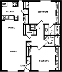 1,101 sq. ft. C1 floor plan