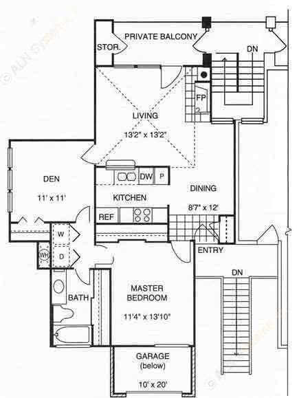 906 sq. ft. A3 w/Gar 2nd Flr floor plan