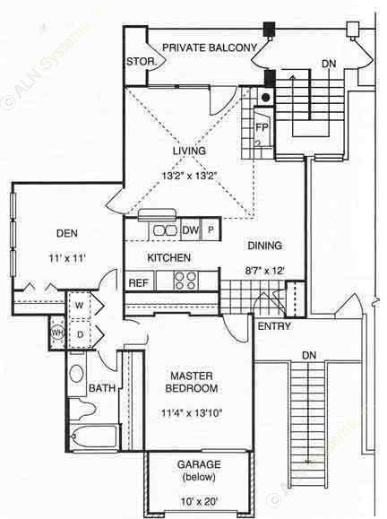 906 sq. ft. A3 w/Gar 2nd Flr floor plan