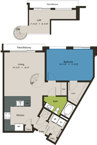 972 sq. ft. A5-L1 floor plan