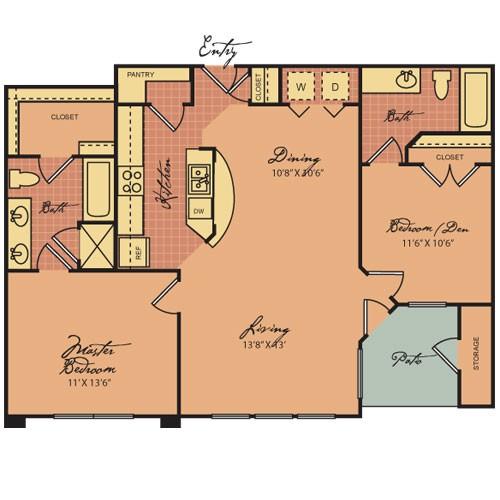 967 sq. ft. B1 60% floor plan