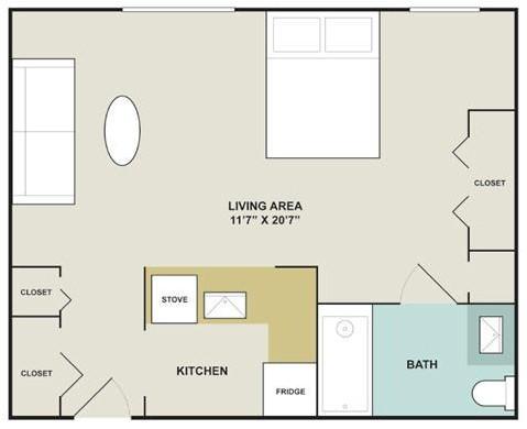 424 sq. ft. floor plan