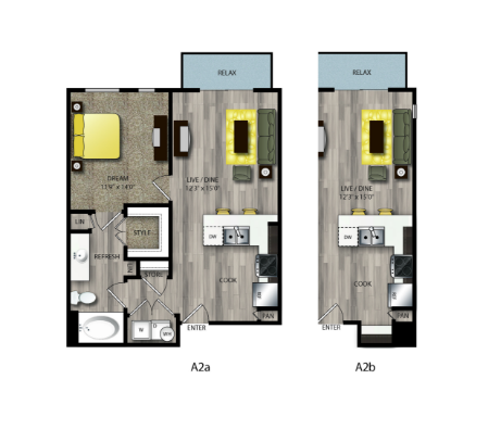 678 sq. ft. A2B floor plan