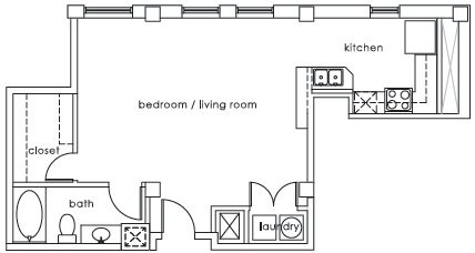 668 sq. ft. GS Plan J floor plan
