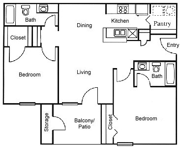 886 sq. ft. B3 floor plan