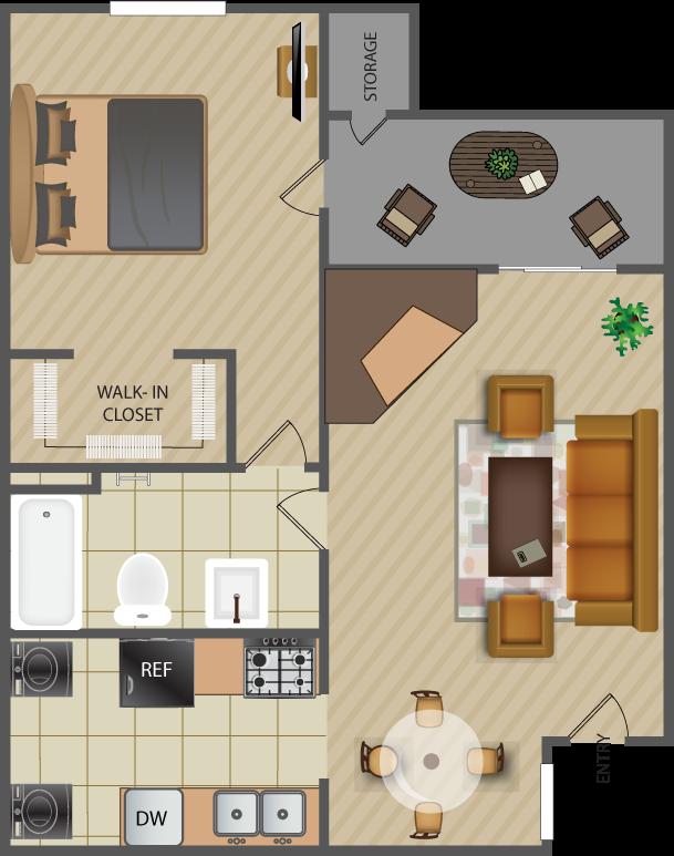 687 sq. ft. Oak A6 floor plan