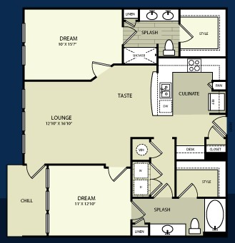 1,106 sq. ft. B1 floor plan