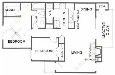 856 sq. ft. B2 floor plan