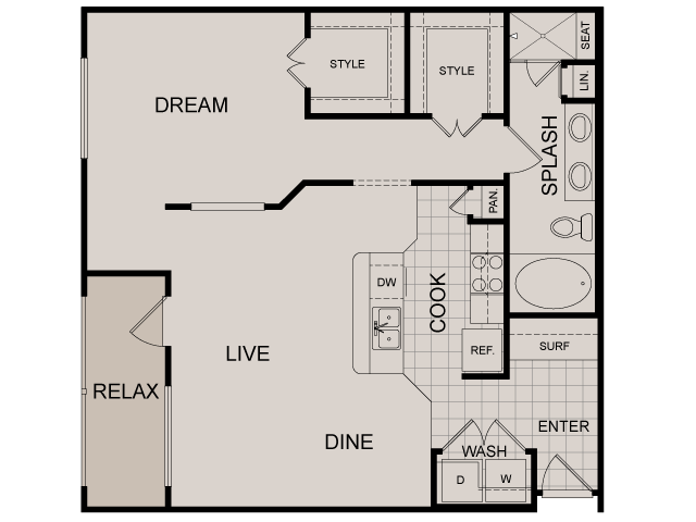 855 sq. ft. Belshire floor plan