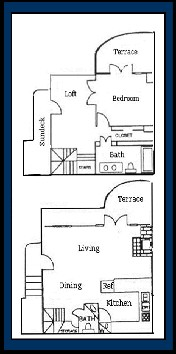 970 sq. ft. ARUBA floor plan