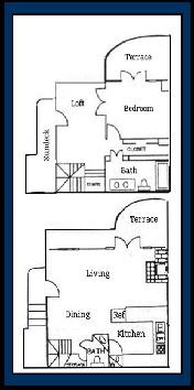 970 sq. ft. ARUBA floor plan
