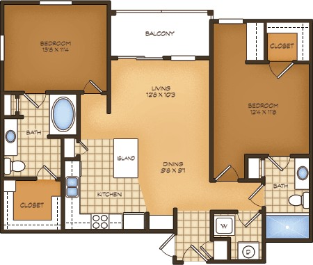 1,046 sq. ft. B1G Palermo Vistas floor plan