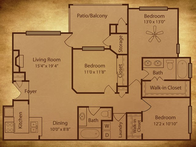 1,362 sq. ft. C1 G floor plan