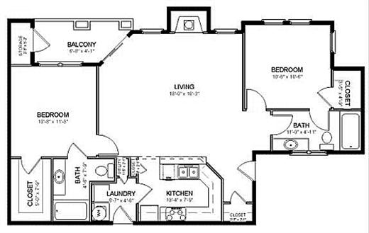 1,257 sq. ft. B2 floor plan
