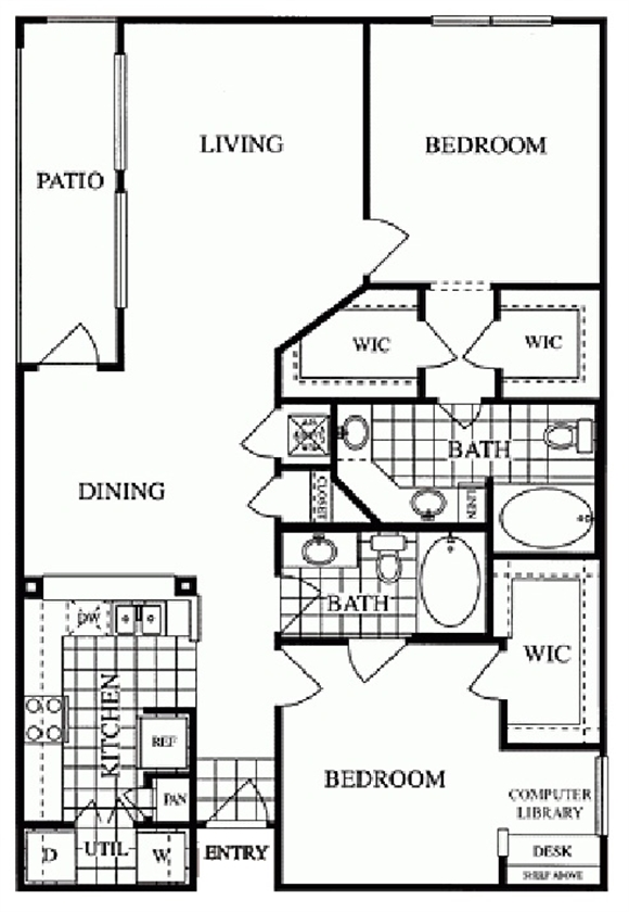 1,211 sq. ft. Post Oak/G floor plan